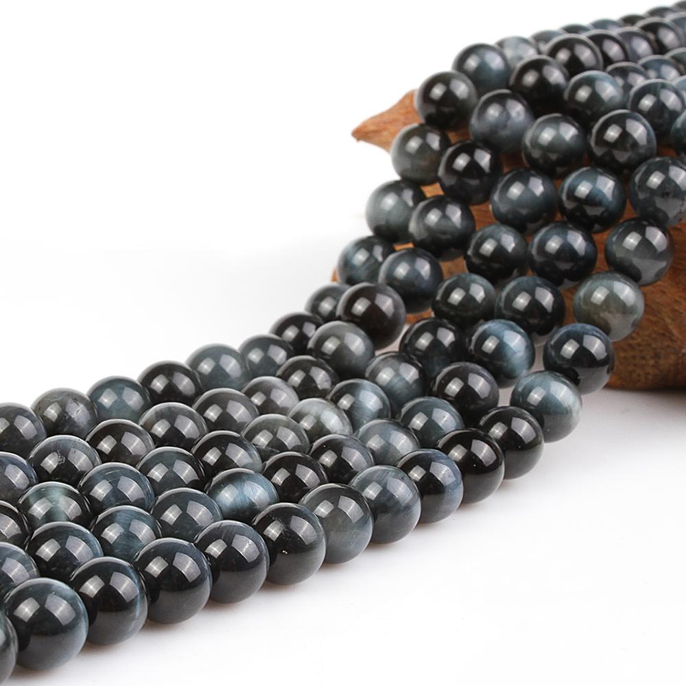 Natural Round AAA Blue Tiger Eye Woodstone Gemstone Loose Beads 6 8 10 12 16 mm For Necklace Bracelet DIY Jewelry Making