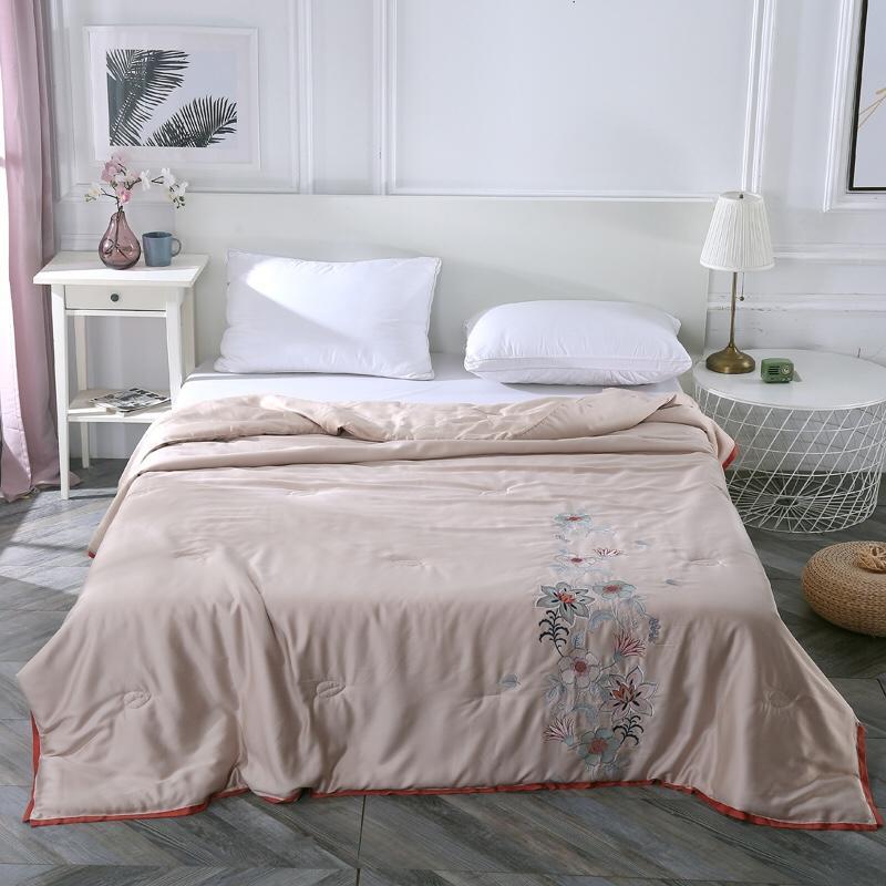 Champagne ouro verão colcha de camomila bordado ar condicionado cobertor macio e confortável cama capa 2020 novo