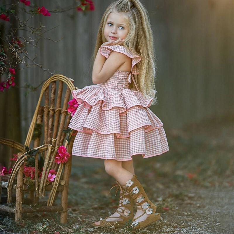 Summer Plaid Dress Girl Princess Dress Kids Birthday Party Wedding Pageant Ruffled Tutu Dresses 1 to 5 Y