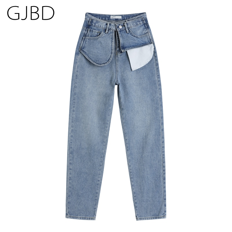 High Waist Women's Blue Jeans 2021 Spring New Baggy Straight Long Pants Streetwear vintage Exposed p
