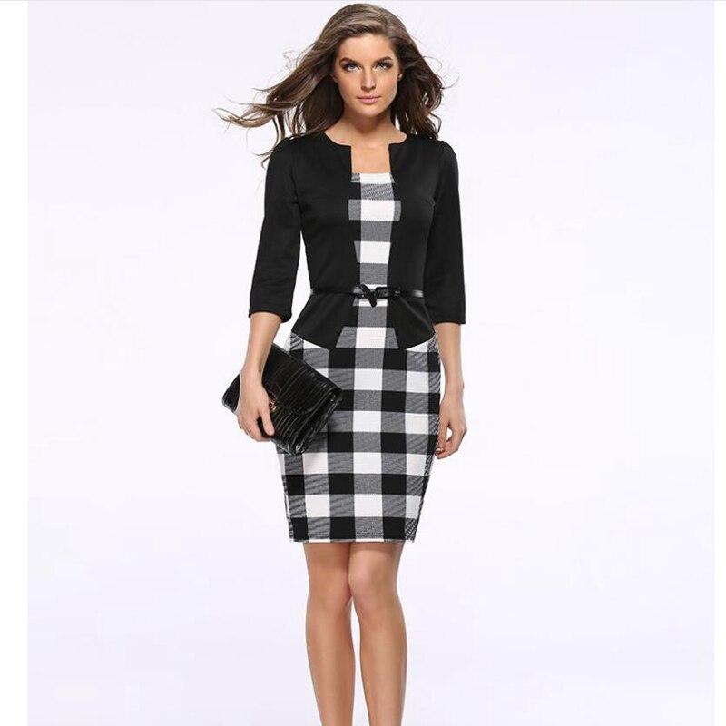 2020 45% descuento moda femenina vestido falso de dos piezas profesional femenina ropa bolsa cadera lápiz vestido de gran tamaño s-3xl