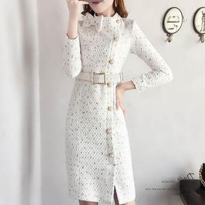 Fall Fashion Wool Dress Long Fashion French Style White Belt Dresses High Quality Luxury Spring Dress 70% cotton 30% polyester