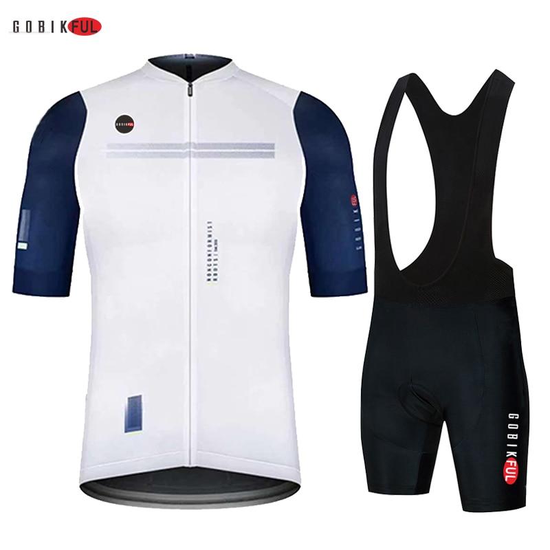 Blanco GOBIKFUL equipo de Ciclismo jersey 20D bicicleta pantalones cortos traje de...