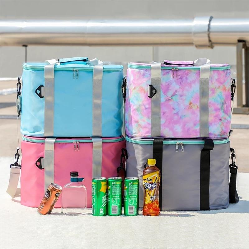 Large Capacity Insulated Cooler Portable Lunch Bag Picnic Food Storage Bags Shoulder Tote Travel Handbag
