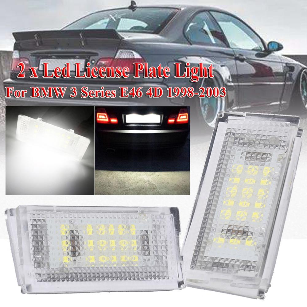 2 pieces Led License Plate Light Led Canbus Auto Tail Light White LED Bulbs For Car 3er E46 4D 1998-