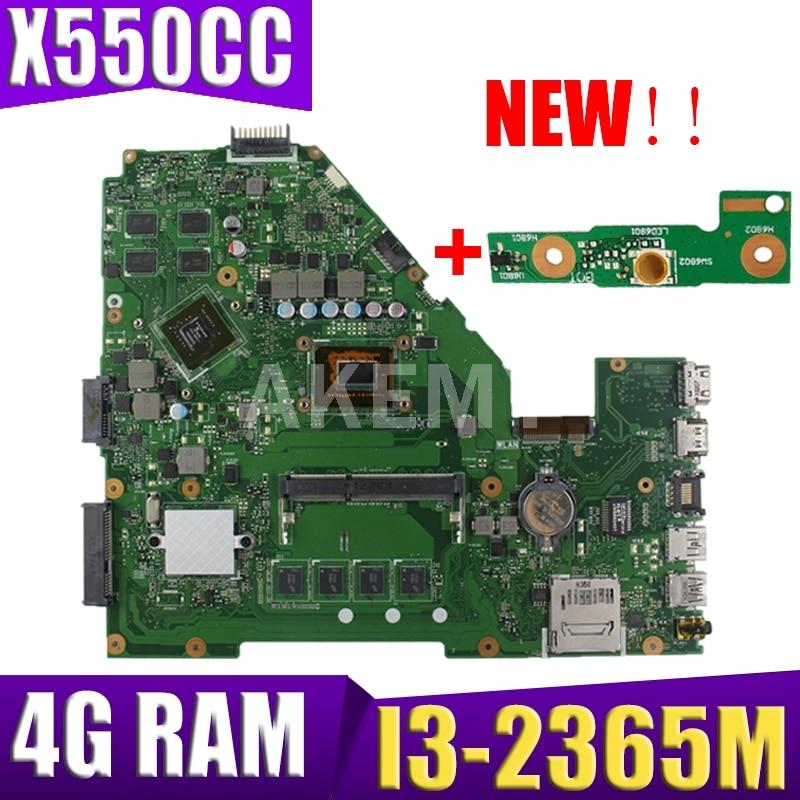 Get Akmey X550CC For ASUS X550CA R510C Y581C X550C X550CL laptop motherboard I3-2365M CPU 4G tested 100% work original mainboard