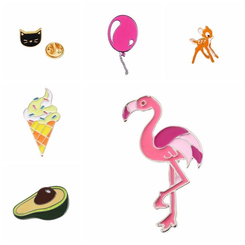 2019 broche feminino bonito animal cavalo flamingos esmalte pinos broches crachás colarinho pino vestidos planta sorvete broche jóias
