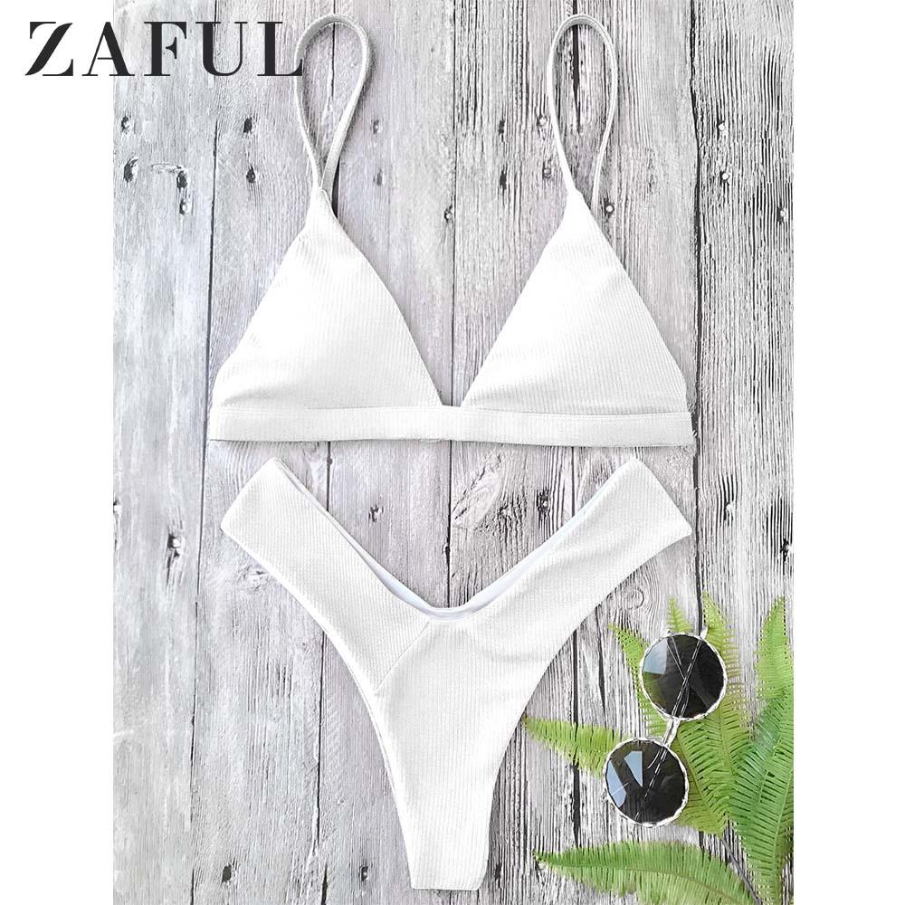 ZAFUL texturizado de corte alto acolchado Plunge Bikini Set Spaghetti Straps sólido verano traje de baño elástico de cintura baja traje de baño 2019