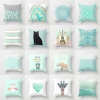 2021 green geometric pillow cover print cushion covers for home car bed sofa 4545cm decorative throw pillows case flower