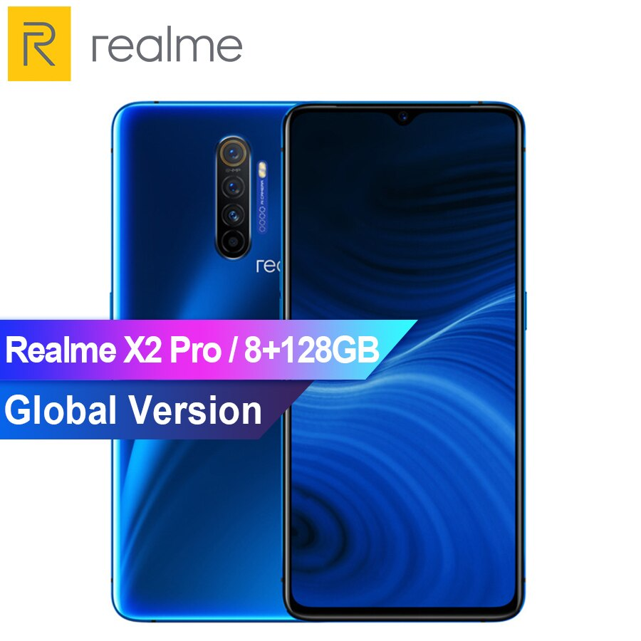 "Versão global realme x2 pro snapdragon 855 plus 8 gb 128 gb rom 6.5 ""nfc celular 64mp quad camera 50 w super vooc carga rápida"