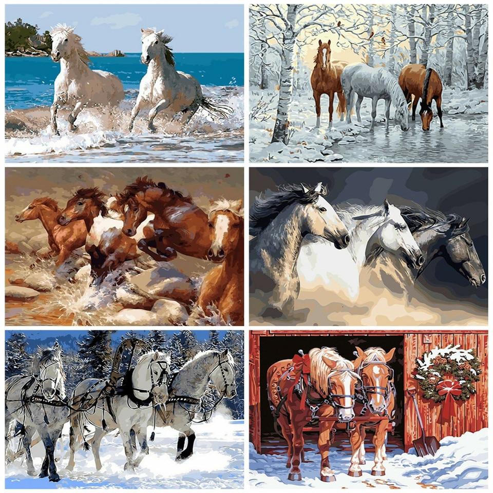 AZQSD Erwachsene Ölgemälde Durch Zahlen Pferd DIY Handarbeiten Handarbeit Geschenk Färbung Durch Zahlen Leinwand Tier Home Dekoration Kits