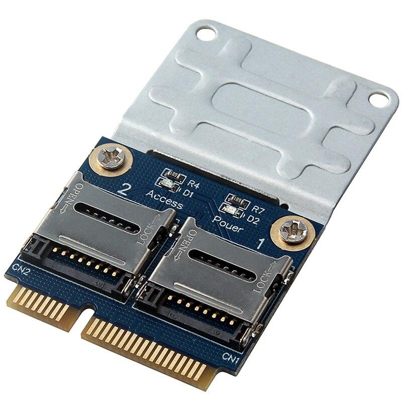 2 SSD HDD для ноутбука двойной Micro- SD SDHC SDXC TF для Mini PCIe устройство для чтения карт памяти MPCIe в 2 Mini-SDCARD Mini Pci-E адаптер