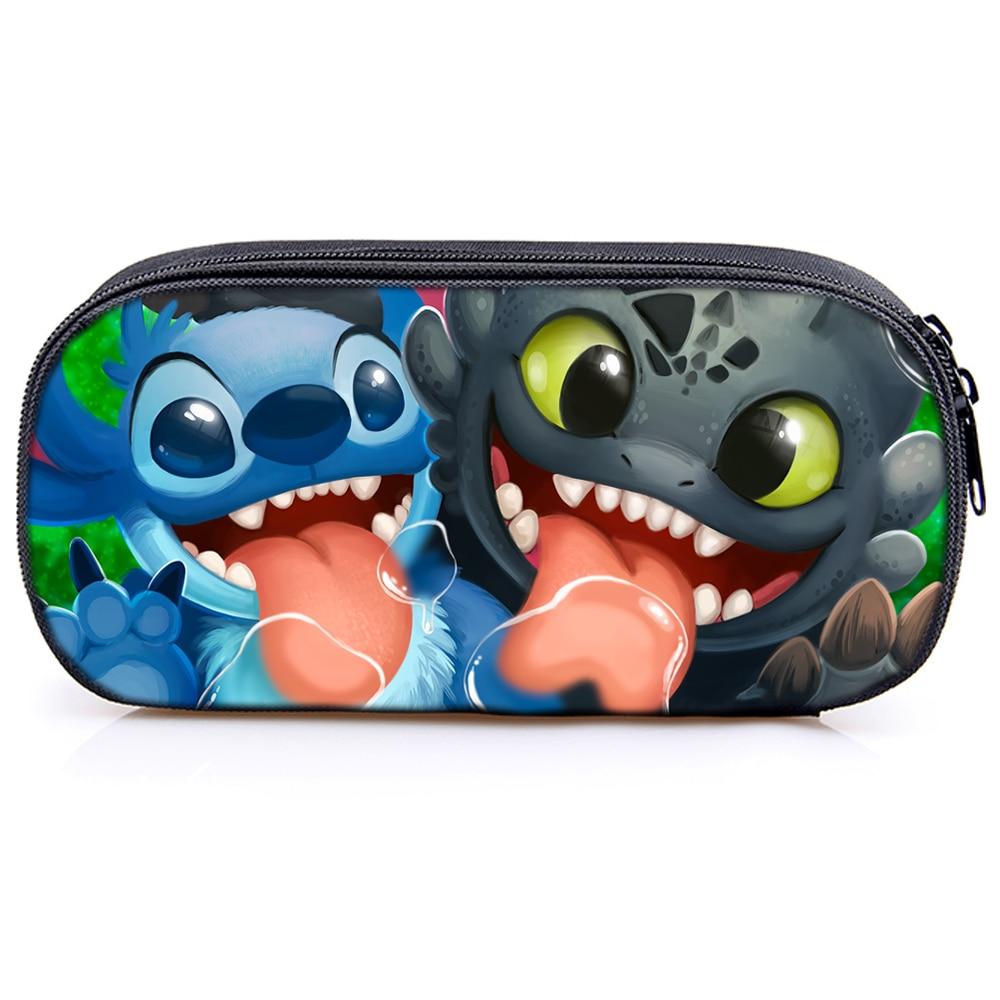 Pikachu /How to Train Your Dragon/ Stitch Pencil Case Children Boy Girl Student Bag New Cute Pencil Case Fashion Stationery Bag