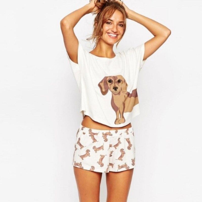 Pijamas dachshund feminino ternos topo de colheita + shorts chihuahua cão 2 peças conjunto cintura elástica roupas casuais