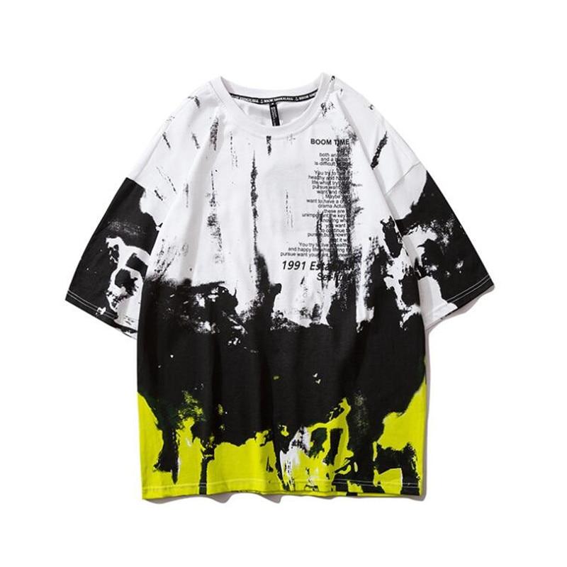NAGRI Tie Dyeing camiseta hombres 2020 nuevo verano cuello redondo hombres camiseta Hip Hop camisetas Streetwear ropa M L XL XXL