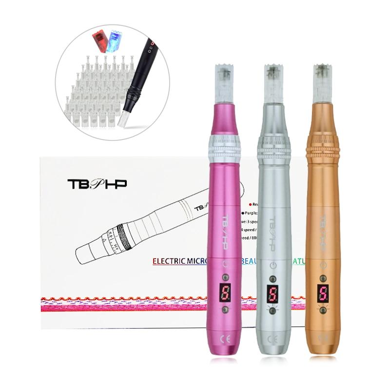 TBPHP P20 microoneedling قلم ديرما مع شاشة الكريستال السائل LED العلاج إزالة التجاعيد finines مكافحة الشيخوخة العناية بالبشرة نمو الشعر 0-2 مللي متر