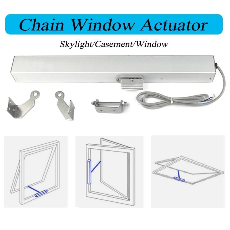 DC24V Stroke Length 400mm 500mm Automatic Actuator Motorized Chain opener Skylight Casement Blinds Greenhouse Window