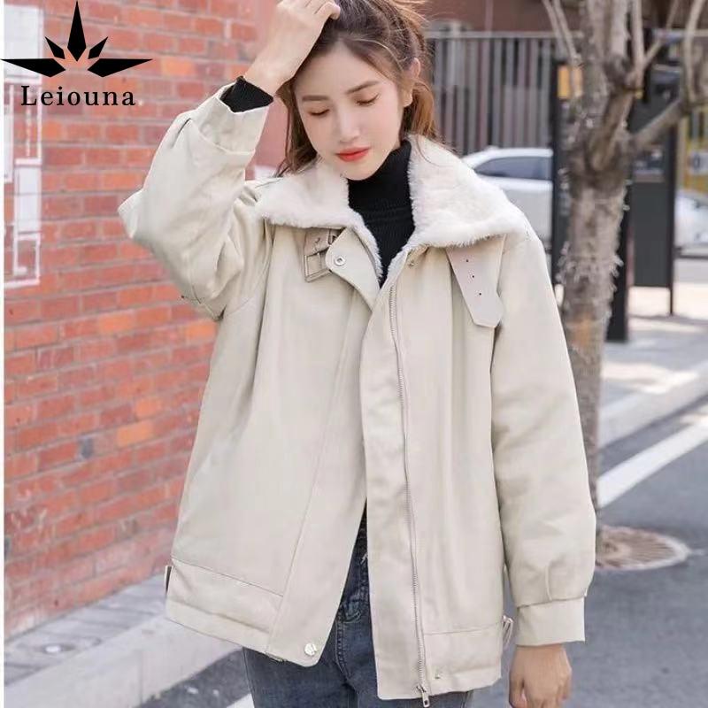 Leiona-معطف شتوي من صوف الخروف للنساء ، ملابس عمل طويلة فضفاضة ، قطن سميك ، معطف شتوي للطلاب ، معطف دافئ