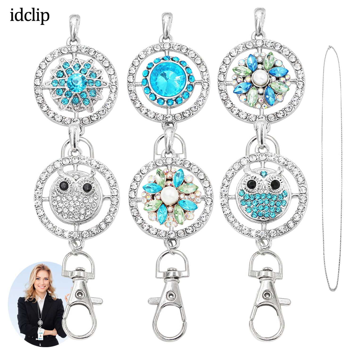 idclip Lanyard Holder ID Badge Owl Snap Jewelry Pink Charms Pendant Clip Bling Necklace Womens Office accessories