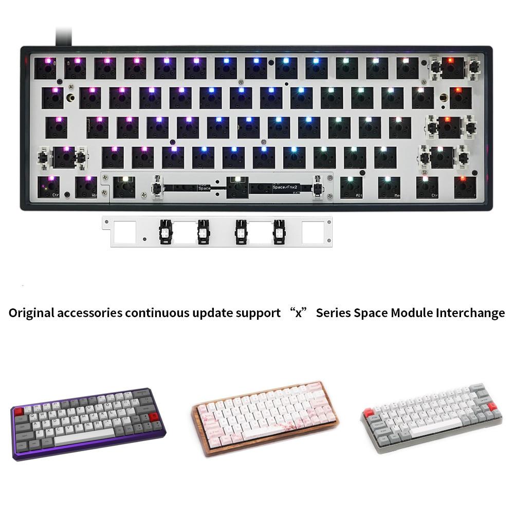 لوحة المفاتيح الميكانيكية GK61X لتقوم بها بنفسك عدة Hotswap لوحة المفاتيح GK61 نسخة محدثة 60% لوحة المفاتيح لمفتاح Cherry MX Gateron Kailh