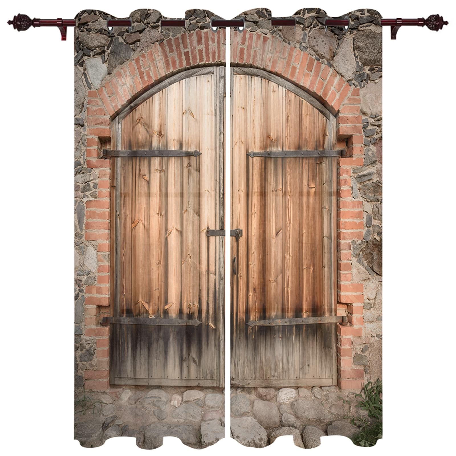 ستائر باب خشبية من Stone House ، ستارة فاخرة ، نافذة شفافة للمطبخ ، غرفة المعيشة ، عريشة حديقة