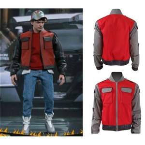 Back To The Future Cosplay Jacket Jr Marlene Seamus Marty Mcfly Orange Red Outwear Coat Halloween Costume For Man