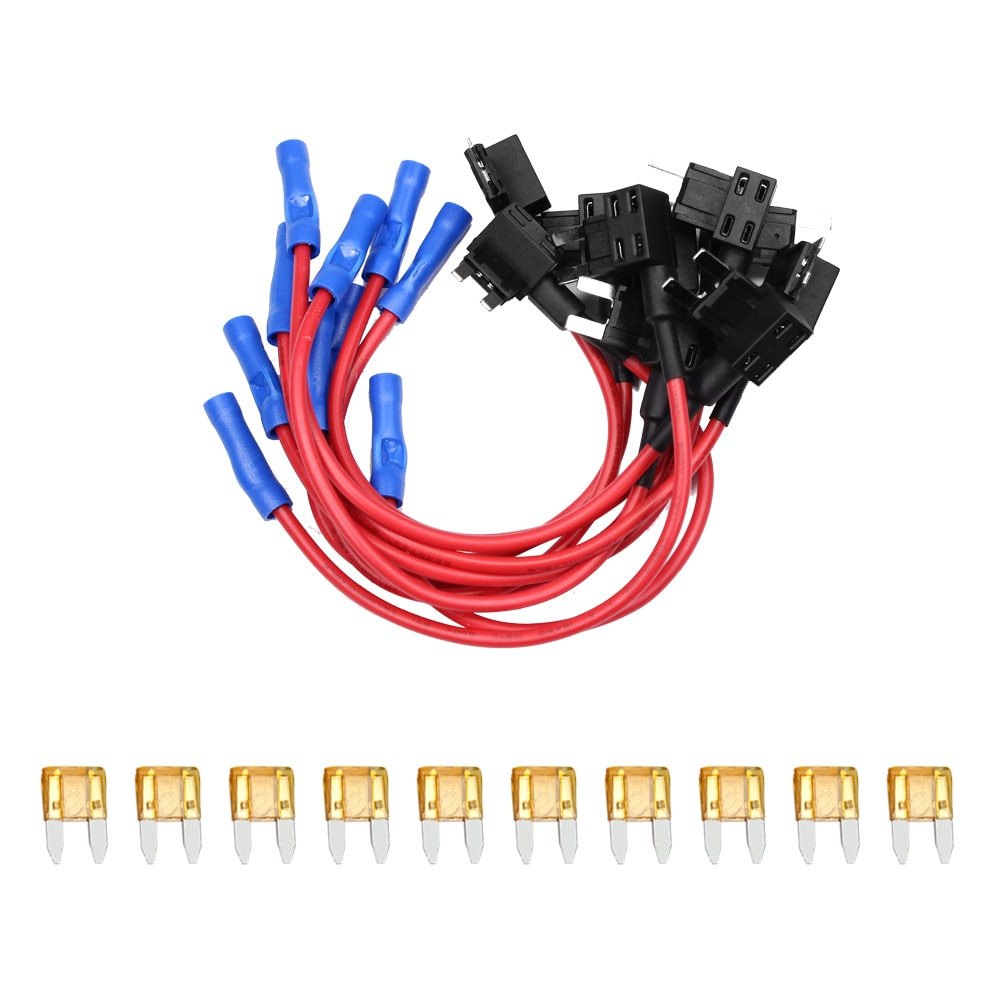 YUNPICAR del coche 12V añadir un circuito fusible Tap adaptador Mini ATM APM hoja fusible, paquete de 10