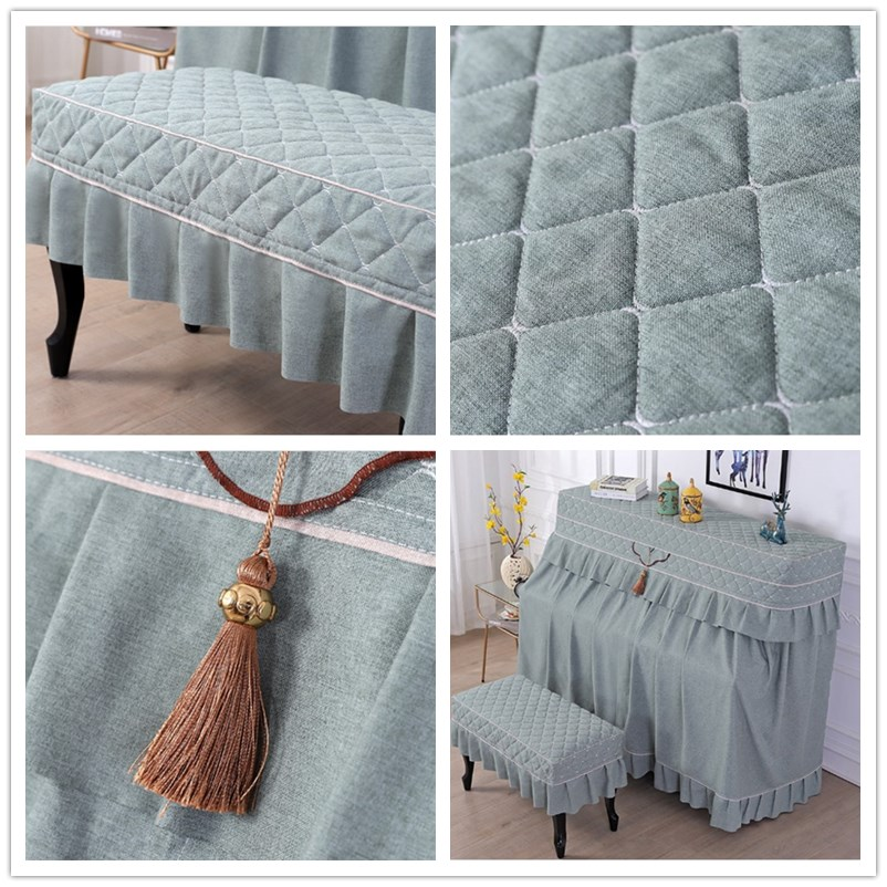 North European Cotton Linen Cloth Dust Cover Solid Color Piano Cover Full Cover Half Open Style Piano Bench Cover  4 colors. enlarge