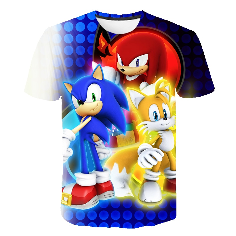 New HOT Fashion Girls and Boys Kids Child T-Shirt 3D Print Short Sleeve Tee Sonic Cartoon Hedgehog KT189