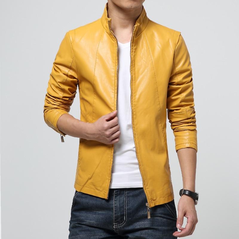 Chaquetas informales de cuero Pu con cuello levantado para hombre, abrigo con cremallera, chaqueta de cuero para la moto, negro, blanco, rojo, amarillo, marrón, 5XL, 6XL