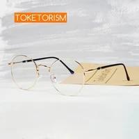 toketorism vintage anti blue glasses for women men computer eyeglasses metal gold frame