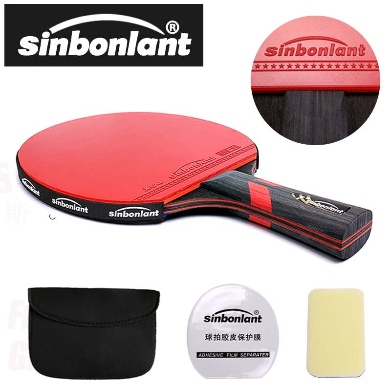 Professional Tennis Table Racket Short Long Handle Carbon Blade Rubber With Double Face Pimples In P