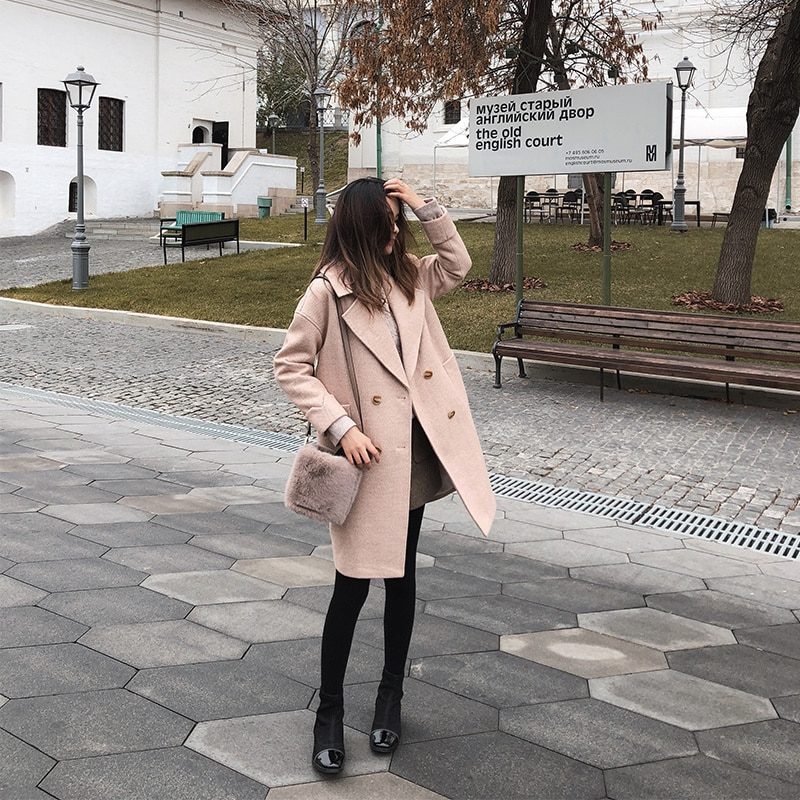 SHZQ الخريف والشتاء Fishion الصوفية معطف الإناث منتصف طويلة جديدة الكورية مزاجه المرأة شعبية ملابس خارجية معطف الصوف