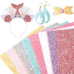 20*34cm 8 pçs/set chunky glitter couro sintético falso folhas em artesanato diy materiais artesanais, 1yc10727