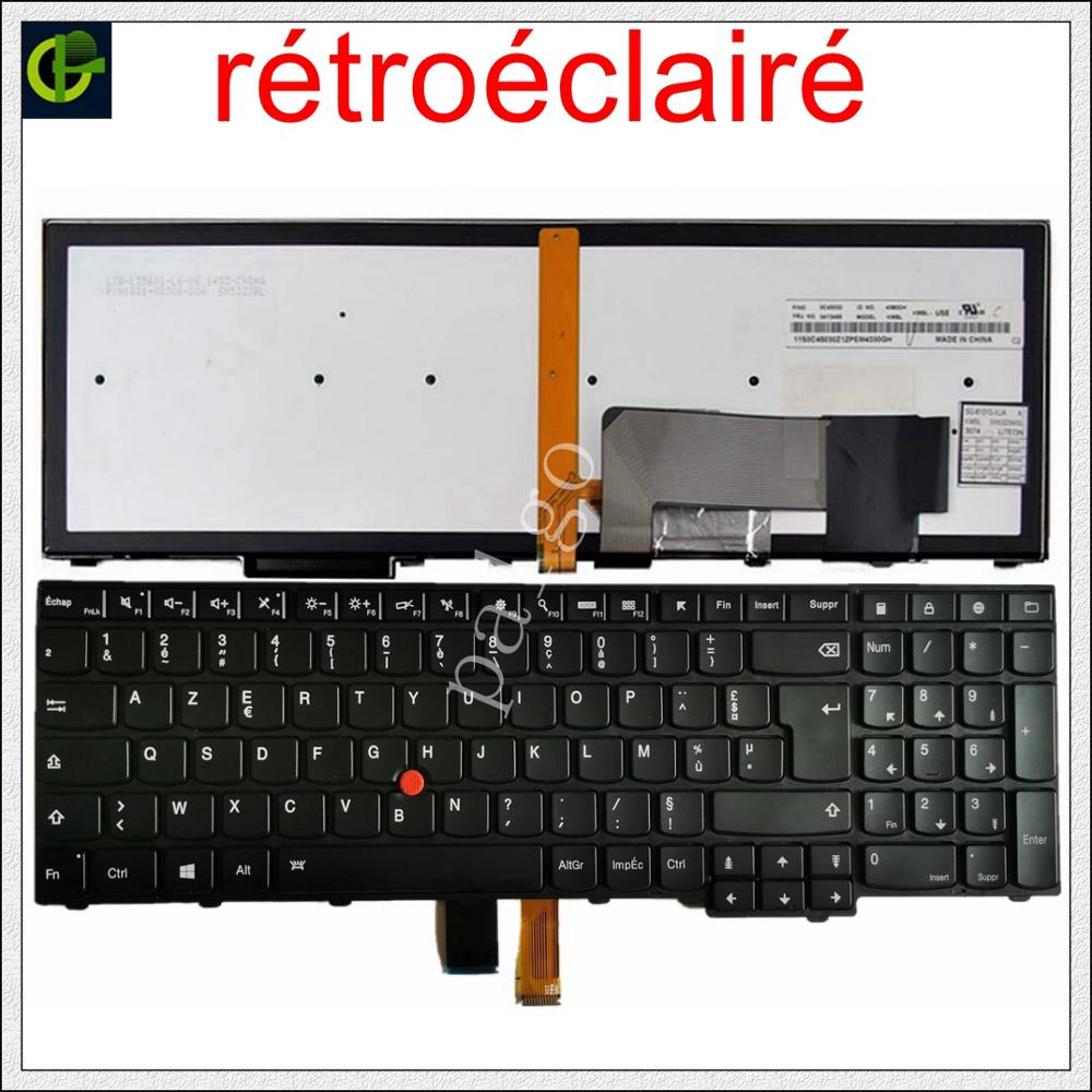 Francês para Lenovo Novo Teclado Retroiluminado Azerty Thinkpad W540 W541 W550s T540 T540p T550 L540 Borda E531 E540 L570 0c44913 fr