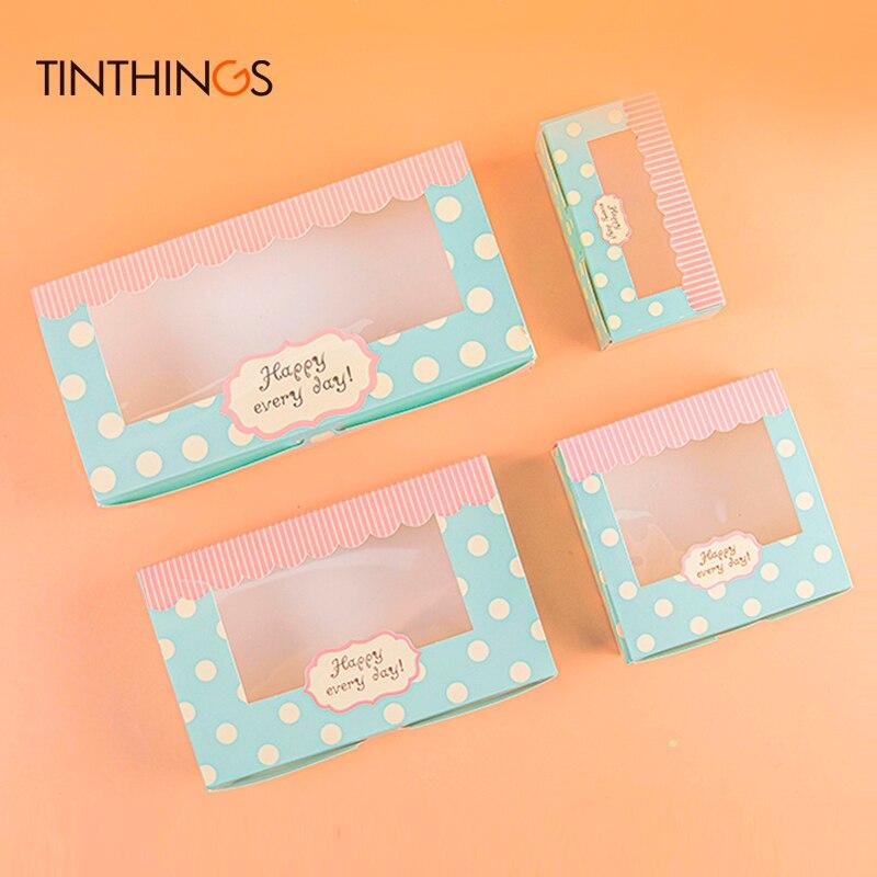 Caixa de papel do presente dos pces 100 com janela para o casamento caçoa o bolo verde da caixa de papel de kraft que empacota biscoitos doces doces fornecedor