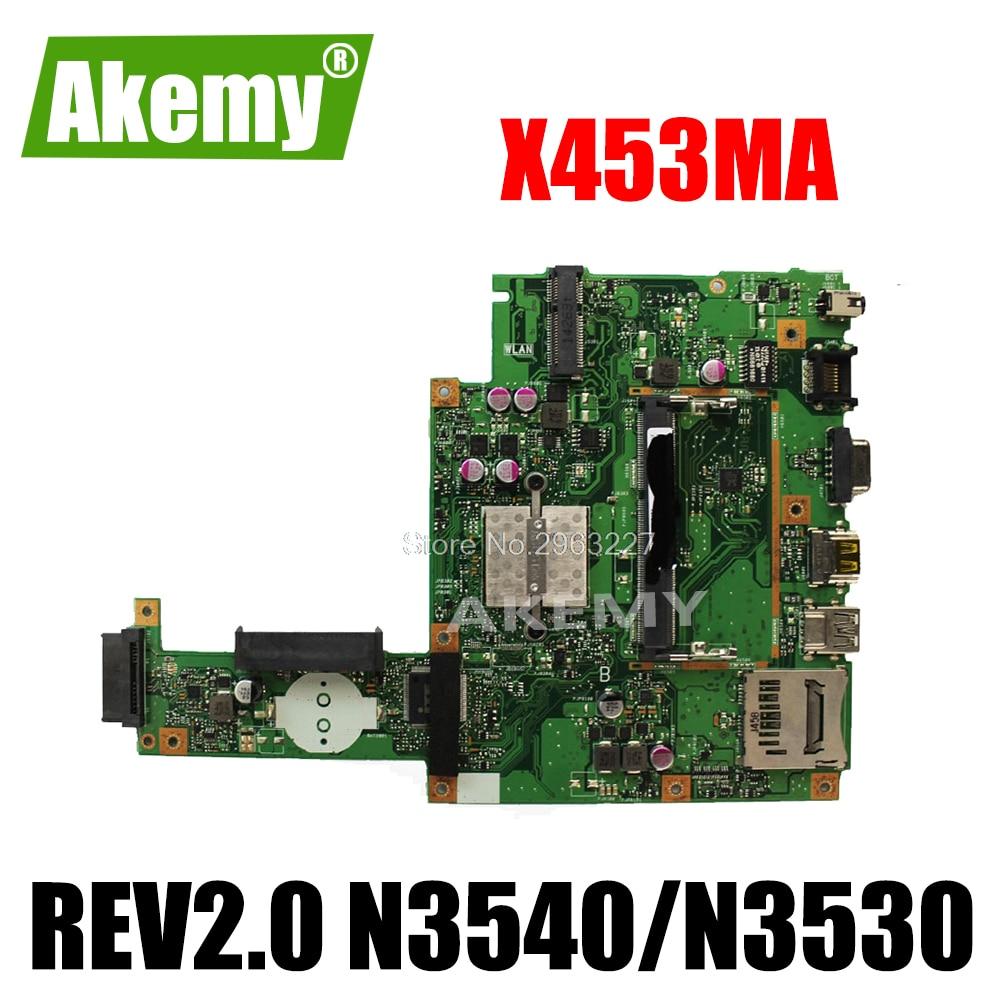 اللوحة الأم X453MA REV2.0 N3540U N3530 pu ل Asus X453MA X403MA اللوحة الأم X453MA اللوحة الأم اختبار OK 4 core