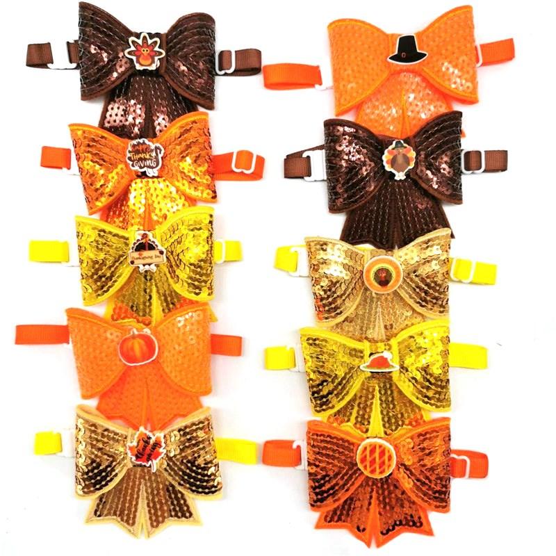 30-50pcs-sequin-pet-thanksgiving-day-style-pet-dog-bow-ties-necktie-pumpkin-turkey-pizza-accessories-dog-bow-ties-pet-supplies
