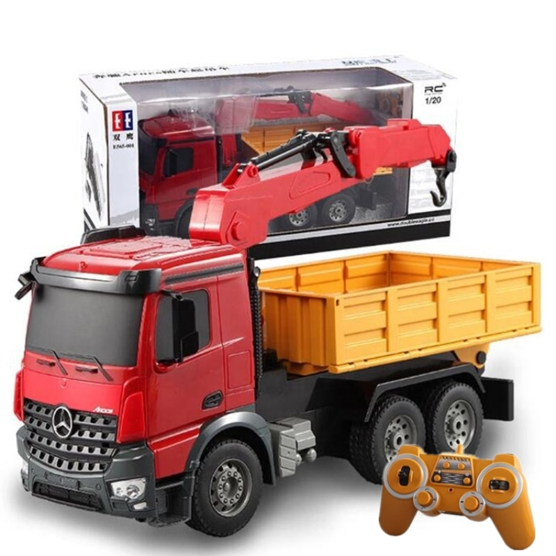 Remote Control Crane Truck 2.4G Wireless Control Move and Transport Dual Functions 180 Degree Rotation Arm RC Model Toy For Kids enlarge