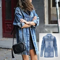 womens denim jacket large size womens fashion personality punk style ripped mid length denim windbreaker jacket