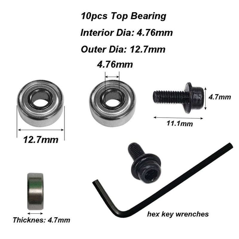 10Pcs Router Bits Top Mounted Ball Bearings Guide for Router Bit Bearing Repairing Replacement Accessory Kit enlarge
