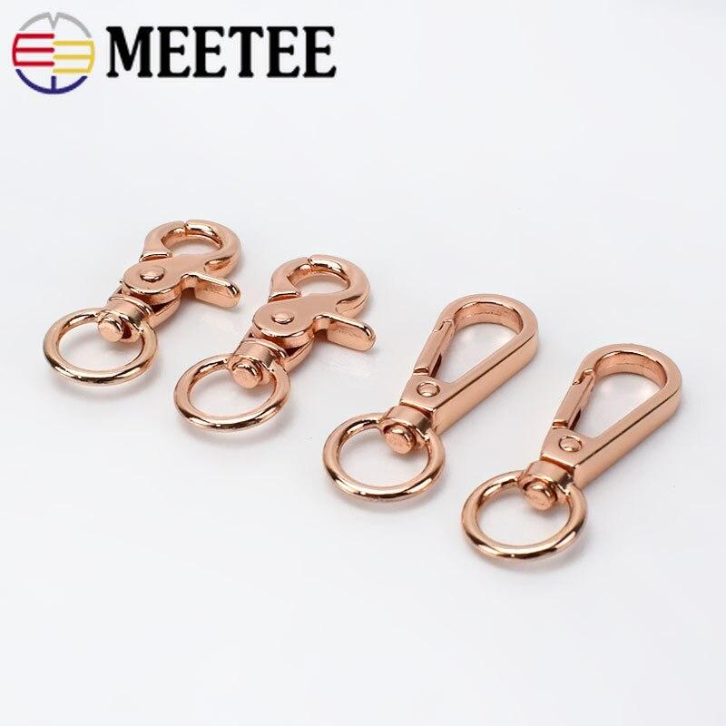 Meetee 5 uds/20 piezas hebilla de perro langosta de oro rosa Cadena de Metal para llavero correa de equipaje Clips de conexión H4-1 de accesorios de gancho