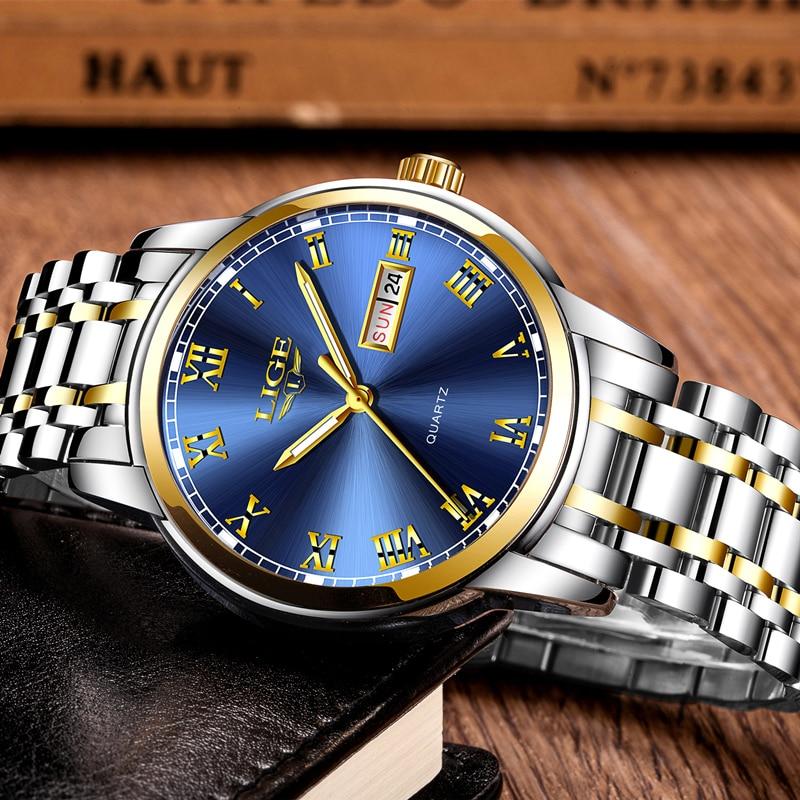 2021 LIGE Business Mens Watches Top Brand Luxury Fashion Date Watch Men Full Steel Waterproof Quartz Clock Relogio Masculino+Box enlarge