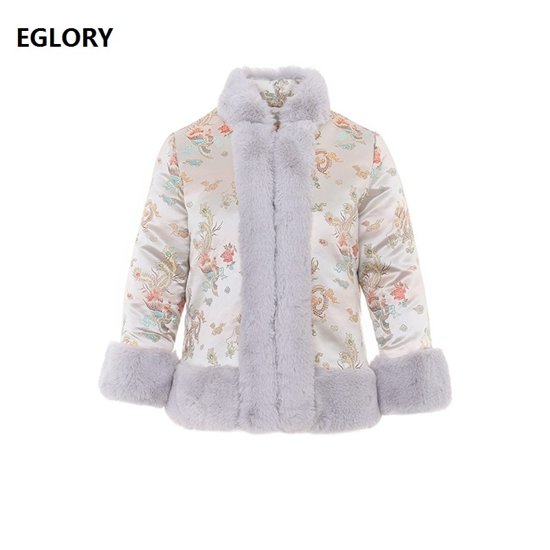 High Quality Brand Women's Parka 2020 Winter Parkas Women Vintage Jacquard Print Rabbit Hair Patchwork Long Sleeve Parka Female