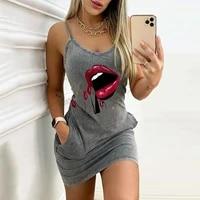 women letter printed dress sexy sleeveless pocket straps party dresses o neck backless female casual slim mini dress fashion r5