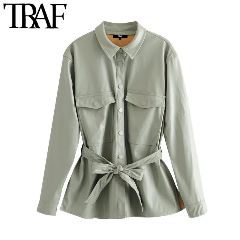 TRAF-معطف عتيق من الجلد الصناعي PU ، ملابس الشارع ، سترة بحزام ، أكمام طويلة ، جيوب ، ملابس خارجية أنيقة