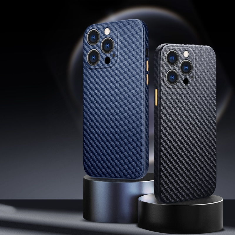 R-just Half-wrapped Carbon Fiber Phone Case For Iphone 13 12 11 Pro Xs Max Ultra-thin Pure Cover For