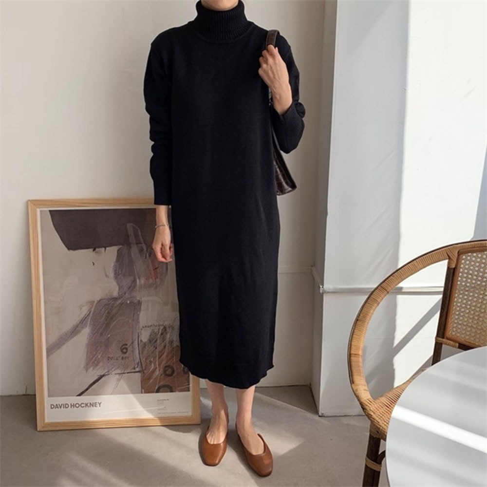 2021 Autumn Winter Solid Color Casual Design Japanese Style Knit Dress Women New Loose Simplicity Turtleneck Long Sleeve