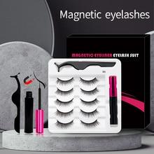 Juego de pestañas postizas magnéticas, delineador líquido impermeable con pinzas, maquillaje, 5 par/set