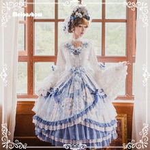 Melonshow Lolita Jurk Plus Size Vrouwen Wit Blauw Classic Lolita Rok Op Victoriaanse Vintage Vrouw Jurken Loli Dames Kleding